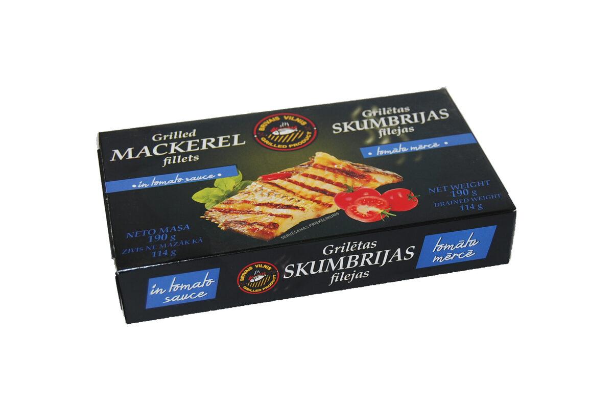 Grilētas skumbrijas filejas tomātu mērcē 190g