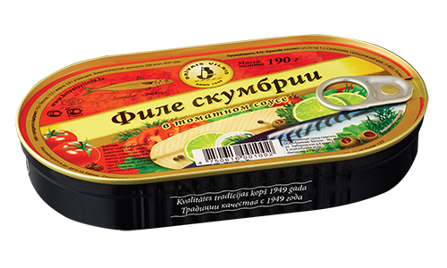 BRĪVAIS VILNIS Skumbriju filejas tomātu mērcē 190G
