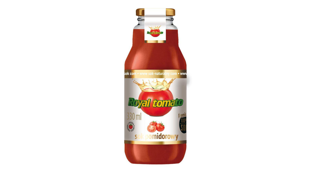 """100% NATURAL TOMATO JUICE """"ROYAL TOMATO"""", 330 ML, IN A GLASS BOTTLE"""