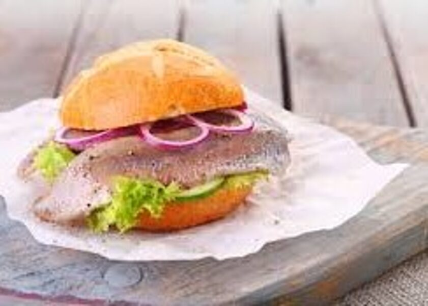 Fish burger with herring, not warm
