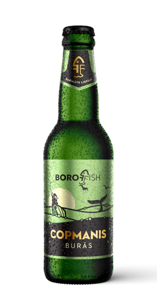 """BOROFFISH """"COPMANIS BURĀS"""", lager пиво 0,33l, 5%"""
