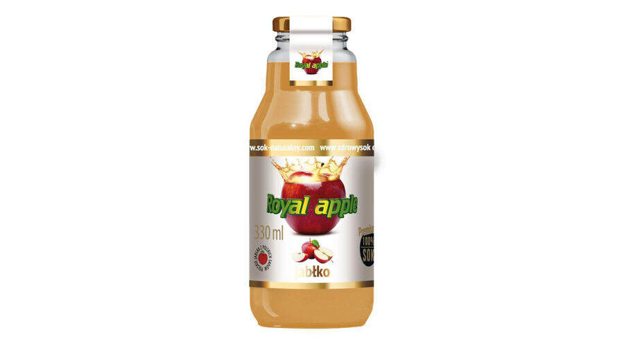 "100% NATURAL APPLE JUICE ""ROYAL APPLE"", 330ML, IN A GLASS BOTTLE"