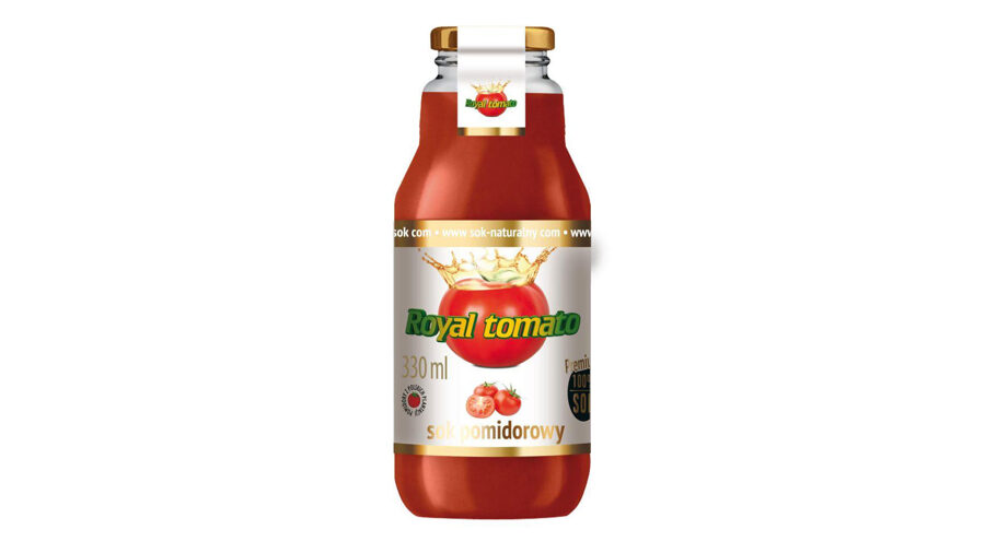 "100% NATURAL TOMATO JUICE ""ROYAL TOMATO"", 330 ML, IN A GLASS BOTTLE"